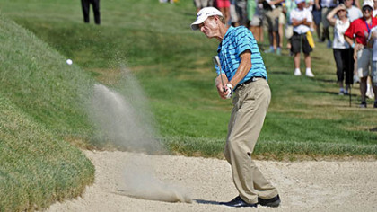 Joe Daley hits out of a bunker to the 17th green. Daley won the Constellation Senior Players Championship Sunday at Fox Chapel Golf Club.