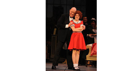 "Conrad John Schuck as Oliver ""Daddy"" Warbucks and Johanna Loughran as Annie in Pittsburgh CLO's ""Annie."""
