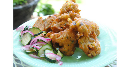 Chiang Mai Sweet Corn Fritters with Cucumber Relish.