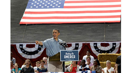 President Barack Obama speaks at the Wolcott House Museum in Maumee, Ohio today.