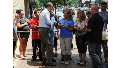 President Obama greets people gathered in Beaver County.
