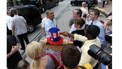 President Obama greets people in Beaver County.