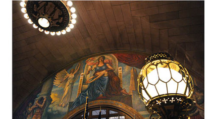 Murals in the lobbies of the Allegheny County Courthouse, Downtown, were made by the Works Progress Administration.