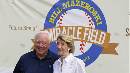 Pittsburgh Pirates Hall-of-Famer Bill Mazeroski with Bernita Buncher of the Jack Buncher Foundation. The foundation was a major donor to the project, along with Pirates Charities, the Rotary of Murrsyville-Export and UPMC. Opening day for the facility is slated for Sept. 8.