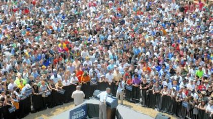 President Barack Obama speaks Friday to a crowd of thousands gathered at a campaign event at Carnegie Mellon University.