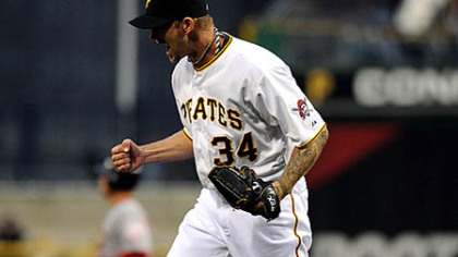 A.J. Burnett celebrates against the St. Louis Cardinals earlier in the season.