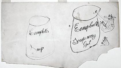 "The Warhol Museum on the North Shore is showing ""Two Campbell's Soup Cans and Two Cats,"" a rough sketch (131/2 inches by 225/8 inches) by Julia Warhola drawn in 1952 -- a decade before her son featured the iconic soup can in a show in Los Angeles."