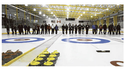The 10 teams that made it to the final round in the curling competition line up before their final matches at the Island Sports Center on Neville Island.