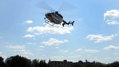 A Lifeflight helicopter takes off from Allegheny General Hospital.
