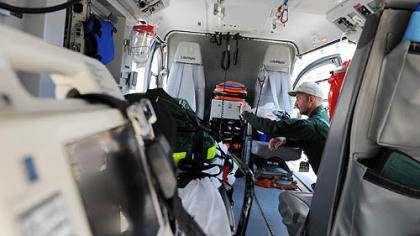 Nurse Pete Hough restocks painkillers as a LifeFlight helicopter crew stops at Allegheny General Hospital.