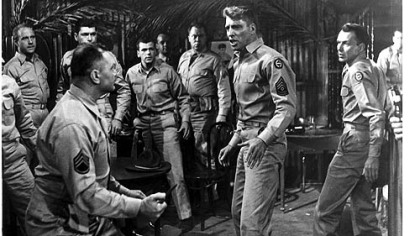 "Ernest Borgnine, Burt Lancaster and Frank Sinatra star in ""From Here to Eternity."""