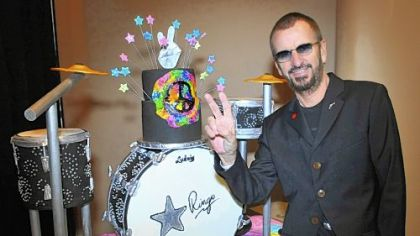 Ringo Starr of the Beatles celebrates his 72nd birthday backstage at The Ryman Auditorium in Nashville on Saturday while on tour with his 2012 All Starr Band.
