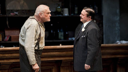 "Among the stars in ""The Iceman Cometh"" at Chicago's Goodman Theatre were Brian Dennehy, left, as Larry Slade and Nathan Lane as Theodore ""Hickey"" Hickman."