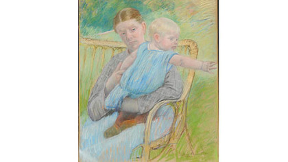 """Mathilde Holding Baby, Reaching out to Right,"" by Mary Cassatt."