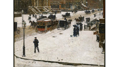 """Fifth Avenue in Winter,"" by Childe Hassam."