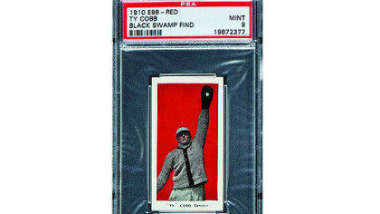 This 1910 E98 Ty Cobb baseball card was found in the attic of a house in Defiance, Ohio, with about 700 others. The best of the bunch -- 37 cards -- are expected to bring a total of $500,000 when they are sold at auction in August during the National Sports Collectors Convention in Baltimore.