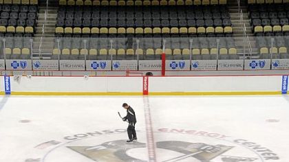 "Bill Guerin is the last to leave the ice after Wednesday's morning session of the Prospect Camp at Consol Energy Center. Says Guerin, who oversees player development: ""I liked doing that as an older player, helping guys out. Right now it's the perfect job for me."""