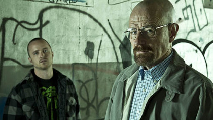 "Jesse (Aaron Paul) and Walter (Bryan Cranston) return Sunday in ""Breaking Bad."""