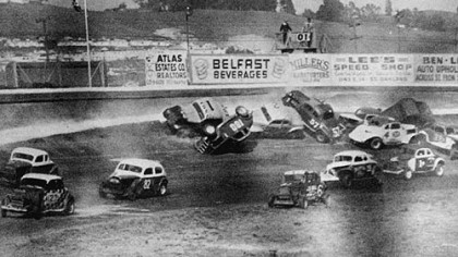 Cars pile up at Heidelberg Raceway in 1952.