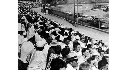 A crowd fills the stands at Heidelberg Raceway on July 5, 1953.