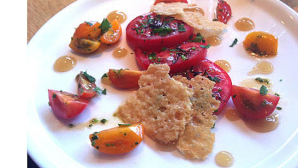 On her farewell visit to Salt of the Earth in Garfield, a departing restaurant critic found heirloom tomato salad with lime-dashi gelee and parmesan crisps.