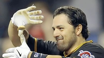 Pirates&#039; Rod Barajas gives the sign of Zoltan after hitting a two-run walk off home run against Washington in the ninth inning May 8th at PNC Park