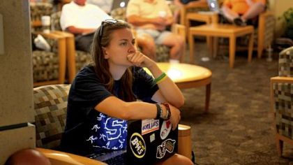 Penn State senior Maddy Pryor takes in the news of the Freeh Report.