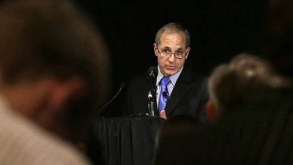 Former FBI director Louis Freeh speaks during a news conference, Thursday in Philadelphia.