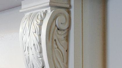 Details from a fireplace mantel.