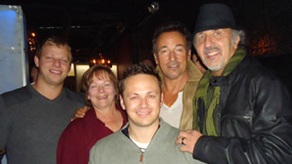 Mike DeSimone, Patti DeSimone, Adam DeSimone, Bruce Springstein, Joe Grushecky at their concert after party