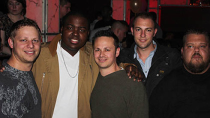 Mike DeSimone, Sean Kingston, Adam DeSimone, Drew Meyer, and Big Steve at an after-party at Diesel