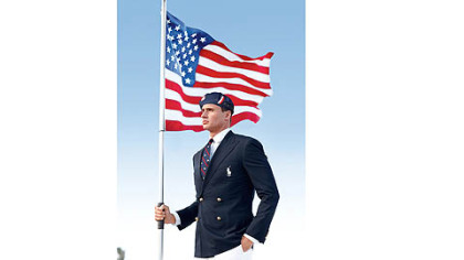 Swimmer Ryan Lochte models the Ralph Lauren official Team USA Opening Ceremony Parade Uniform.
