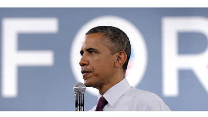 President Barack Obama speaks at a campaign event at the Cincinnati Music Hall in Cincinnati.