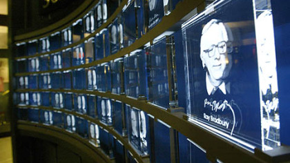 An image of author Ray Bradbury etched in glass at the Science Fiction Museum and Hall of Fame in Seattle.