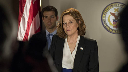 "In ""Political Animals,"" James Wolk portrays Douglas Hammond and Sigourney Weaver is his mother, Elaine Barrish."