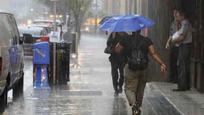 Severe thunderstorms and downpours moved through Downtown Pittsburgh this afternoon.