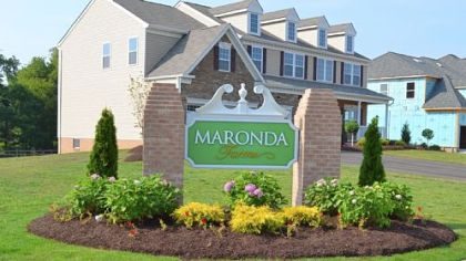 The sign at the entrance to the Maronda Farms neighborhood in Clinton.