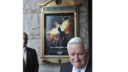 "Governor Tom Corbett at the special preview screening of ""The Dark Knight Rises""."