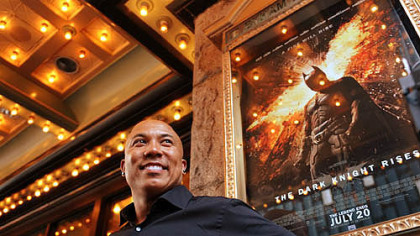 "Hines Ward at the Byham Theater before a special preview screening of ""The Dark Knight Rises"", which was partially filmed in Pittsburgh."