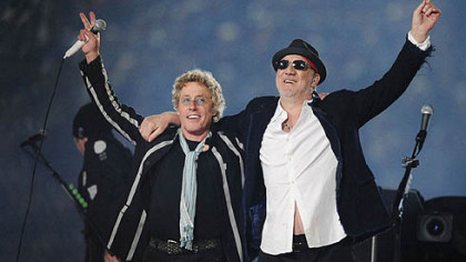 In this 2010 file photo, Roger Daltrey, left, and Pete Townshend acknowledge the crowd after performing during the second half of the NFL Super Bowl XLIV football game in Miami.