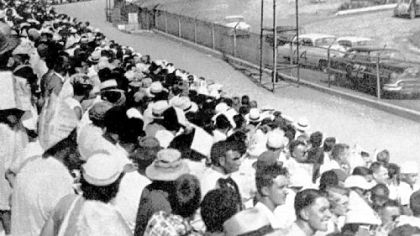 Fans watch the action at the Heidelberg Raceway on July 5, 1953.