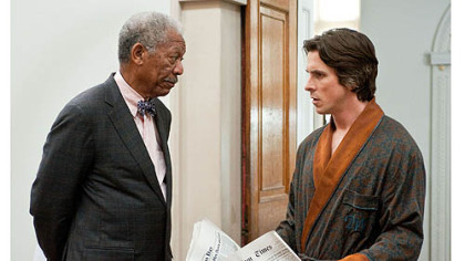 "Morgan Freeman and Christian Bale in ""The Dark Knight Rises."""