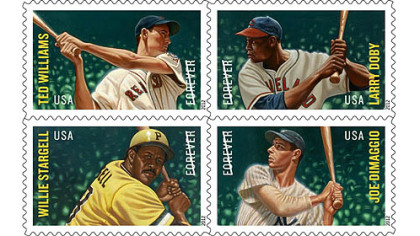 The United States Postal Service's Major League Baseball All-Star Forever stamps (clockwise from top left): Ted Williams, Larry Doby, Joe DiMaggio and Pirates Hall of Famer Willie Stargell.