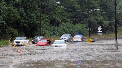 Several vehicles were stranded.