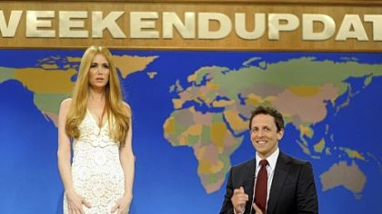 "Kristen Wiig, portraying singer Lana Del Rey, and Seth Meyers during a skit from ""Saturday Night Live."" Ms. Wiig, who was nominated for an Emmy award, is leaving the show, and, according to the latest rumors, Mr. Meyers also may leave."