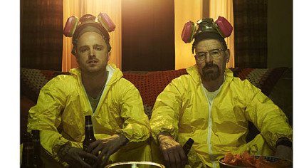 "Aaron Paul and Bryan Cranston in ""Breaking Bad."""