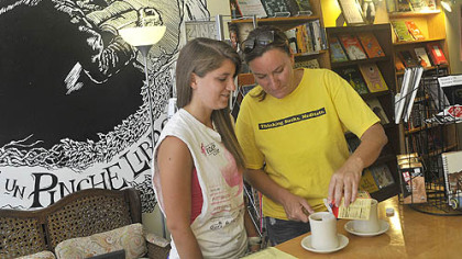 Michelle Rua and her daughter Casey chose The Big Idea Bookstore & Cafe over a national chain yesterday when they wanted coffee. Both are from O'Hara.