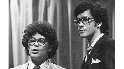 "This 1978 file photo from NBC shows ""Saturday Night Live"" writer/performers Al Franken, left, and Tom Davis in New York."