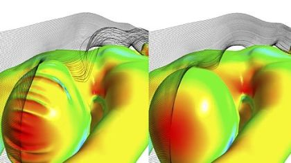 An Ansys simulation of the forces experienced when diving. At left is an older version of the female swim cap. The Fastskin3 Cap, right, with hair management system, shapes hair for significantly improved hydrodynamics. Ansys used similar simulations to help Speedo design optimal racing swimsuits.