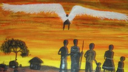 A painting by Patrick Donovan: An angel watches over his family as they walk to find a new home after their village was sacked.